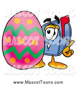 December 4th, 2014: Cartoon of a Mailbox Mascot Posing by an Easter Egg by Toons4Biz