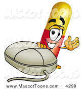 Cartoon of a Medicine Pill Mascot Cartoon Character with a Computer Mouse by Toons4Biz