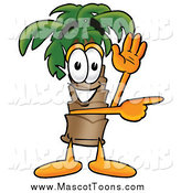 Cartoon of a Palm Tree Mascot Directing by Waving and Pointing by Toons4Biz