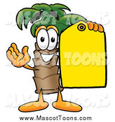 Cartoon of a Palm Tree Mascot Holding a Yellow Sales Tag by Toons4Biz