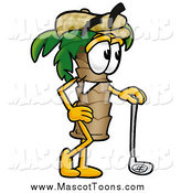 Cartoon of a Palm Tree Mascot with Golf Gear by Toons4Biz