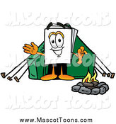 Cartoon of a Paper Mascot Camping with a Tent and Fire by Toons4Biz