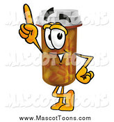 Cartoon of a Pill Bottle Mascot Pointing Upwards by Toons4Biz