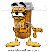 Cartoon of a Pill Bottle Mascot Whispering by Toons4Biz