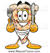 Cartoon of a Pizza Slice Mascot with a Fork and Knife by Toons4Biz