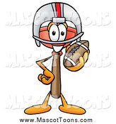 Cartoon of a Plunger Mascot Holding a Football by Toons4Biz