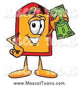 Cartoon of a Price Tag Mascot Holding a Dollar Bill by Toons4Biz