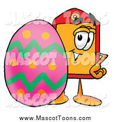 Cartoon of a Price Tag Mascot with an Easter Egg by Toons4Biz