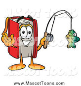 Cartoon of a Red Book Mascot Fishing by Toons4Biz