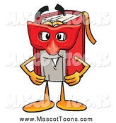Cartoon of a Red Book Mascot Wearing a Red Mask over His Face by Toons4Biz
