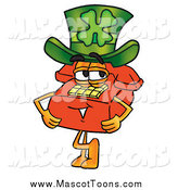 Cartoon of a Red Telephone Mascot Wearing a Saint Patricks Day Hat with a Clover on It by Toons4Biz