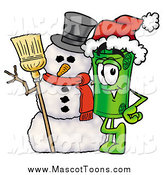 Cartoon of a Rolled Money Mascot with a Christmas Snowman by Toons4Biz