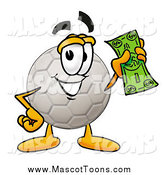 Cartoon of a Soccer Ball Mascot Holding a Dollar Bill by Toons4Biz