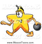 Cartoon of a Star Mascot Walking with a Bowling Ball by Toons4Biz