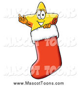 Cartoon of a Star Mascot Waving in a Christmas Stocking by Toons4Biz