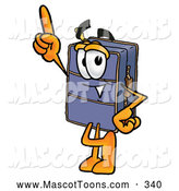 Cartoon of a Suitcase Mascot Pointing Upwards by Toons4Biz