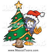 Cartoon of a Suitcase Mascot Waving and Standing by a Decorated Christmas Tree by Toons4Biz
