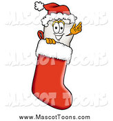 Cartoon of a Tooth Character Wearing a Santa Hat Inside a Red Christmas Stocking by Toons4Biz