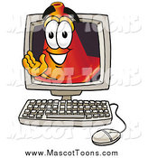 Cartoon of a Traffic Cone Mascot Waving from Inside a Computer Screen by Toons4Biz