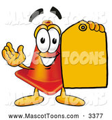 Cartoon of a Traffic Cone Mascot with a Tag by Toons4Biz