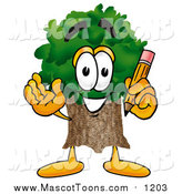Cartoon of a Tree Mascot Holding a Pencil by Toons4Biz