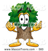 Cartoon of a Tree Mascot with Welcoming Open Arms by Toons4Biz