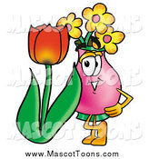 Cartoon of a Vase of Flowers Florist Mascot with a Tulip by Toons4Biz