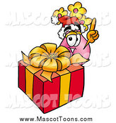 Cartoon of a Vase of Flowers Mascot and a Christmas Gift by Toons4Biz