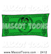 Cartoon of a Vase of Flowers Mascot Character on a Dollar Bill by Toons4Biz