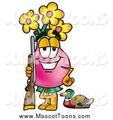 Cartoon of a Vase of Flowers Mascot Duck Hunter by Toons4Biz