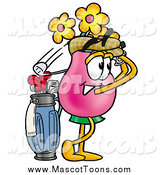 Cartoon of a Vase of Flowers Mascot Golfing by Toons4Biz