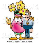 Cartoon of a Vase of Flowers Mascot Talking to a Man by Toons4Biz