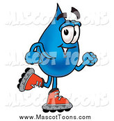 Cartoon of a Water Drop Mascot Roller Blading by Toons4Biz