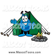 Cartoon of a Water Drop Mascot Waving and Camping by Toons4Biz