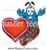 Cartoon of a Water Drop Mascot with Valentine Candy by Toons4Biz