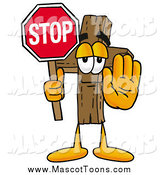 Cartoon of a Wooden Christian Cross Mascot Holding a Stop Sign by Toons4Biz