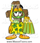 Cartoon of a Wooden Christian Cross Mascot in Green and Yellow Snorkel Gear by Toons4Biz