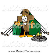 Cartoon of a Wooden Cross Mascot Camping with a Tent and Fire by Toons4Biz