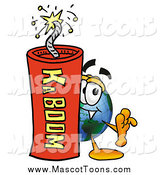Cartoon of a World Earth Mascot with a Stick of Dynamite by Toons4Biz