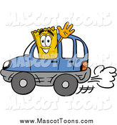 Cartoon of a Yellow Ticket Mascot Cartoon Character Driving a Blue Car and Waving by Toons4Biz
