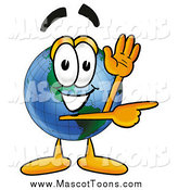 Cartoon of an Earth Globe Mascot Waving and Pointing by Toons4Biz