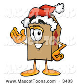 Mascot Cartoon of a Cardboard Box Mascot Wearing a Santa Hat and Waving by Toons4Biz