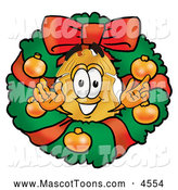 Mascot Cartoon of a Cheerful Badge Character in a Christmas Wreath by Toons4Biz