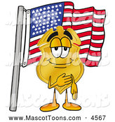 Mascot Cartoon of a Cheerful Badge Mascot Cartoon Character Pledging Allegiance to an American Flag by Toons4Biz