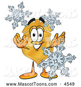 Mascot Cartoon of a Cheerful Badge Mascot Cartoon Character with Three Snowflakes in Winter by Toons4Biz