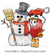 Mascot Cartoon of a Christmas Apple and Snowman by Toons4Biz
