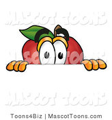 Mascot Cartoon of a Curious Red Apple Character Mascot Peeking over a Horizontal Surface by Toons4Biz