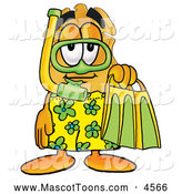 Mascot Cartoon of a Cute Badge Mascot Cartoon Character in Green and Yellow Snorkel Gear by Toons4Biz