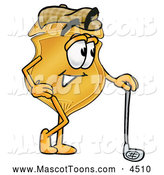 September 29th, 2013: Mascot Cartoon of a Cute Badge Mascot Cartoon Character Leaning on a Golf Club While Golfing by Toons4Biz