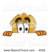 Mascot Cartoon of a Cute Badge Mascot Cartoon Character Peeking over a Surface by Toons4Biz